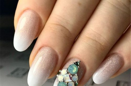 Beautiful Almond Long White Nails with Gemstone