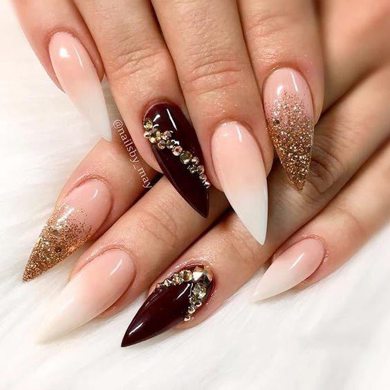 Fantastic Stiletto Burgundy Nails For Super Stylish Ladies