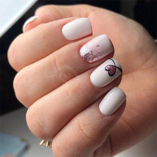 Easy Heart For Valentines Nails To Express Your Love