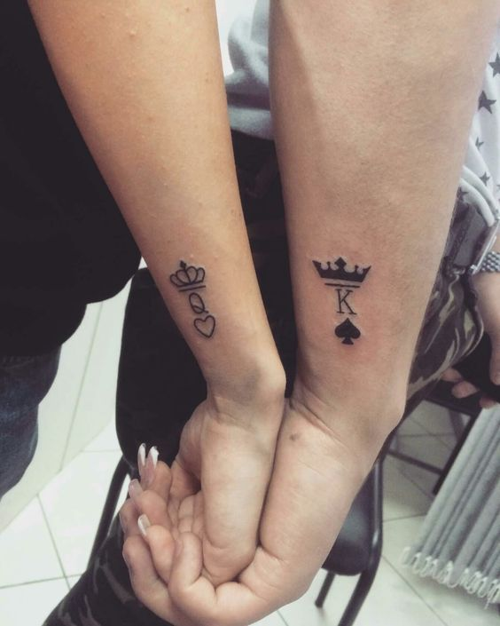 Matching Couple Tattoos Ideas His Hers King And Queen Tattoo