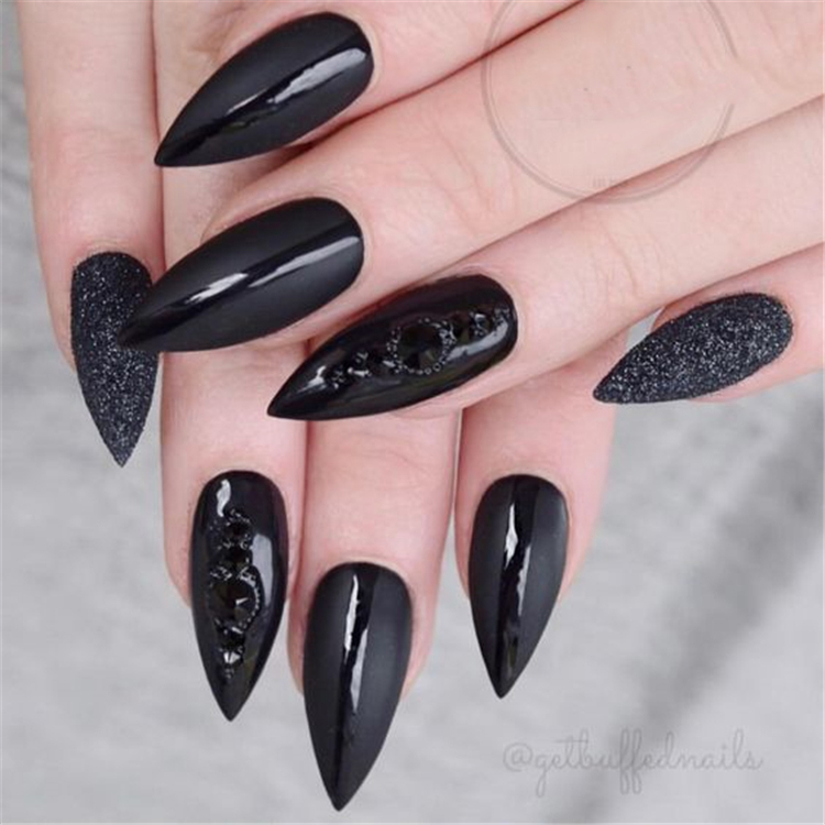 58 Black Stiletto Nails Design for 2019 Halloween Sumcoco