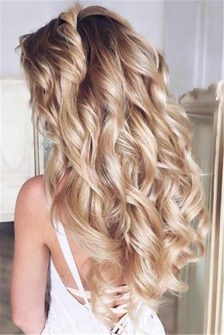 Wonderful Long Hairstyles For Wavy Hair; Long Hairstyles;Beautiful Wavy Styling; Half-Up For Wavy Hair;Updo Hairstyles For Wavy Hair