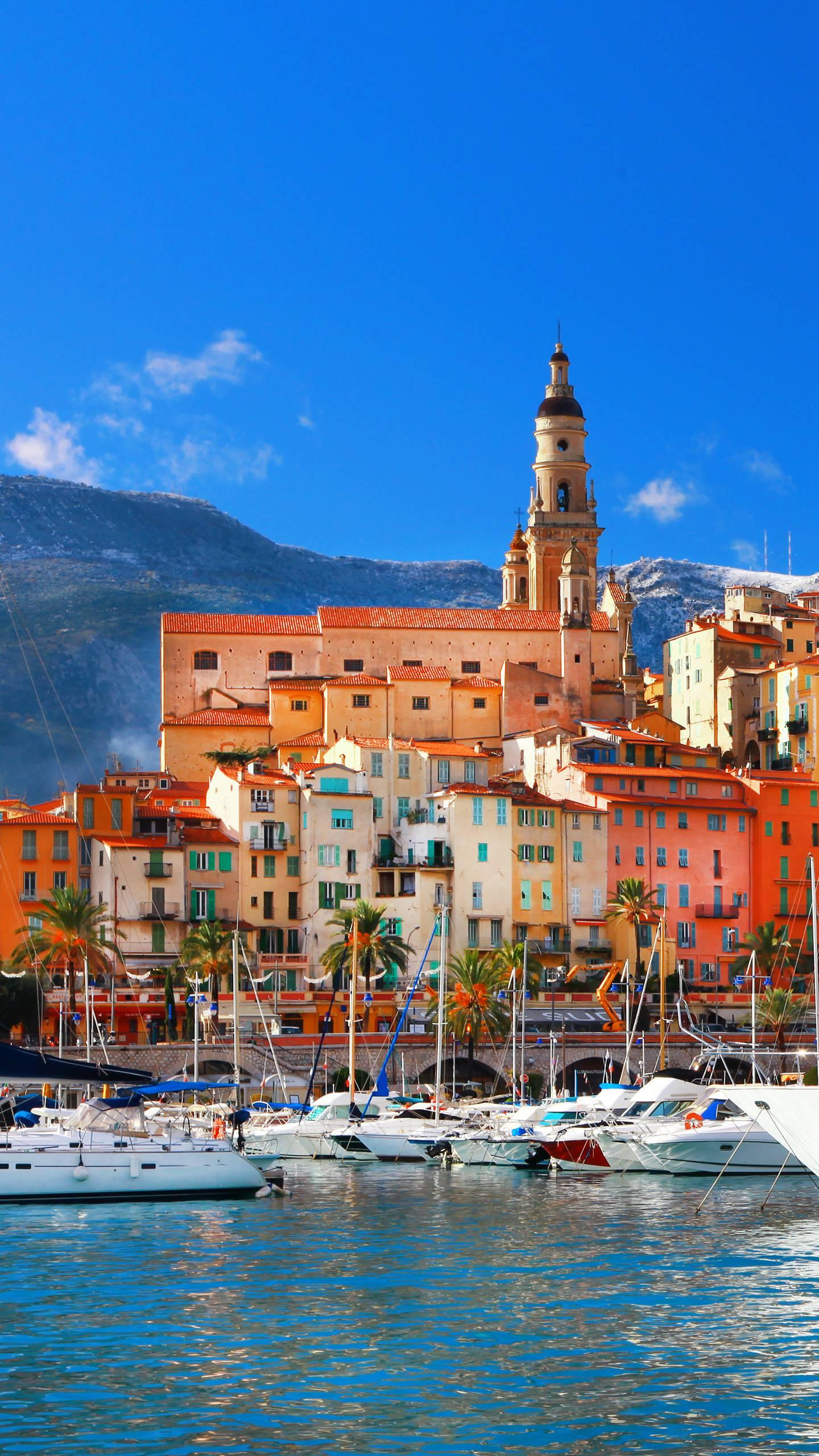 France - Menton, southeast of France, surrounded by palm trees and lemon trees, is filled with a charming subtropical atmosphere.