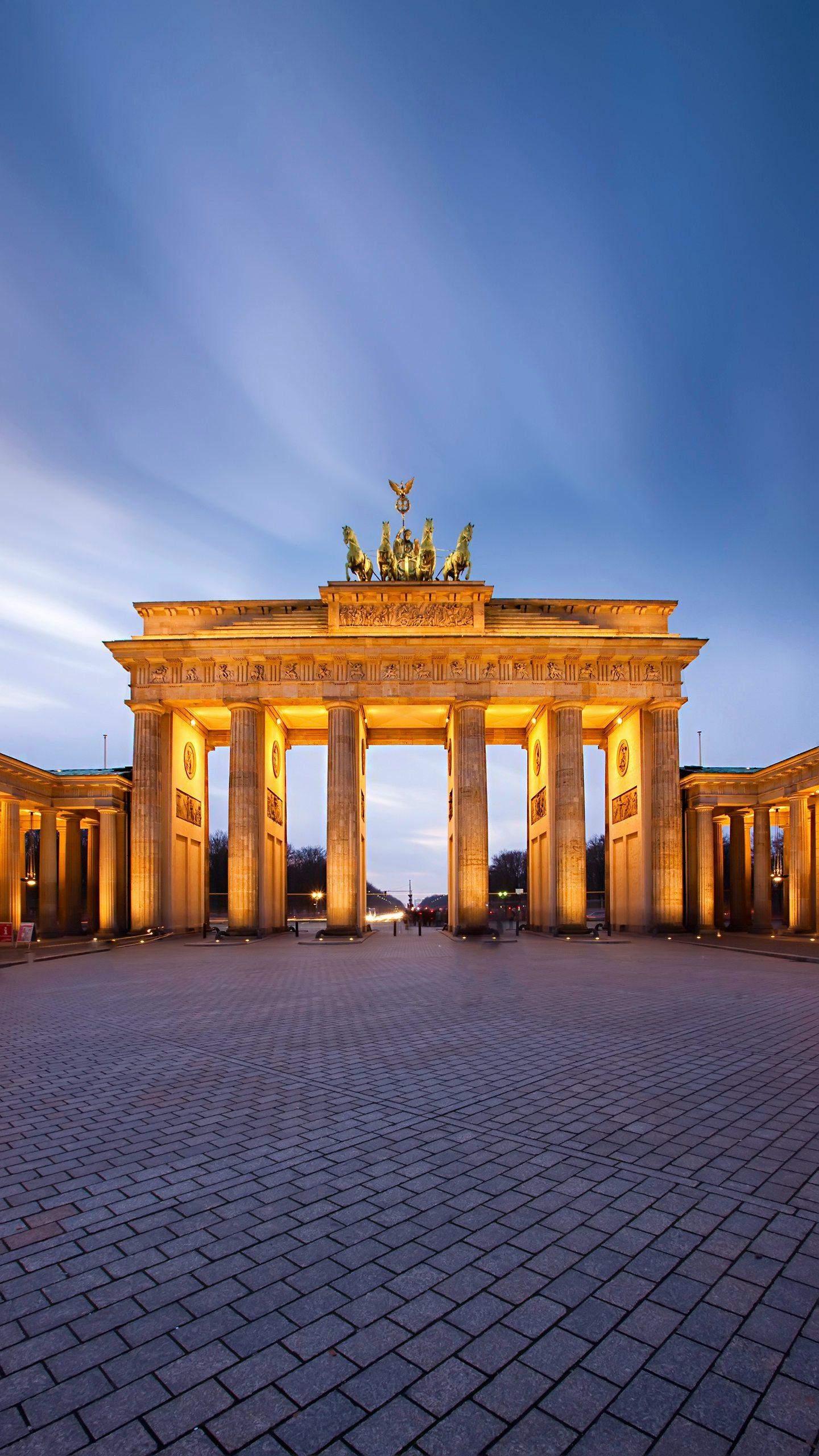 Berlin - Brandenburg, a neoclassical sandstone building, modeled after the colonnade architecture of the Greek Acropolis.