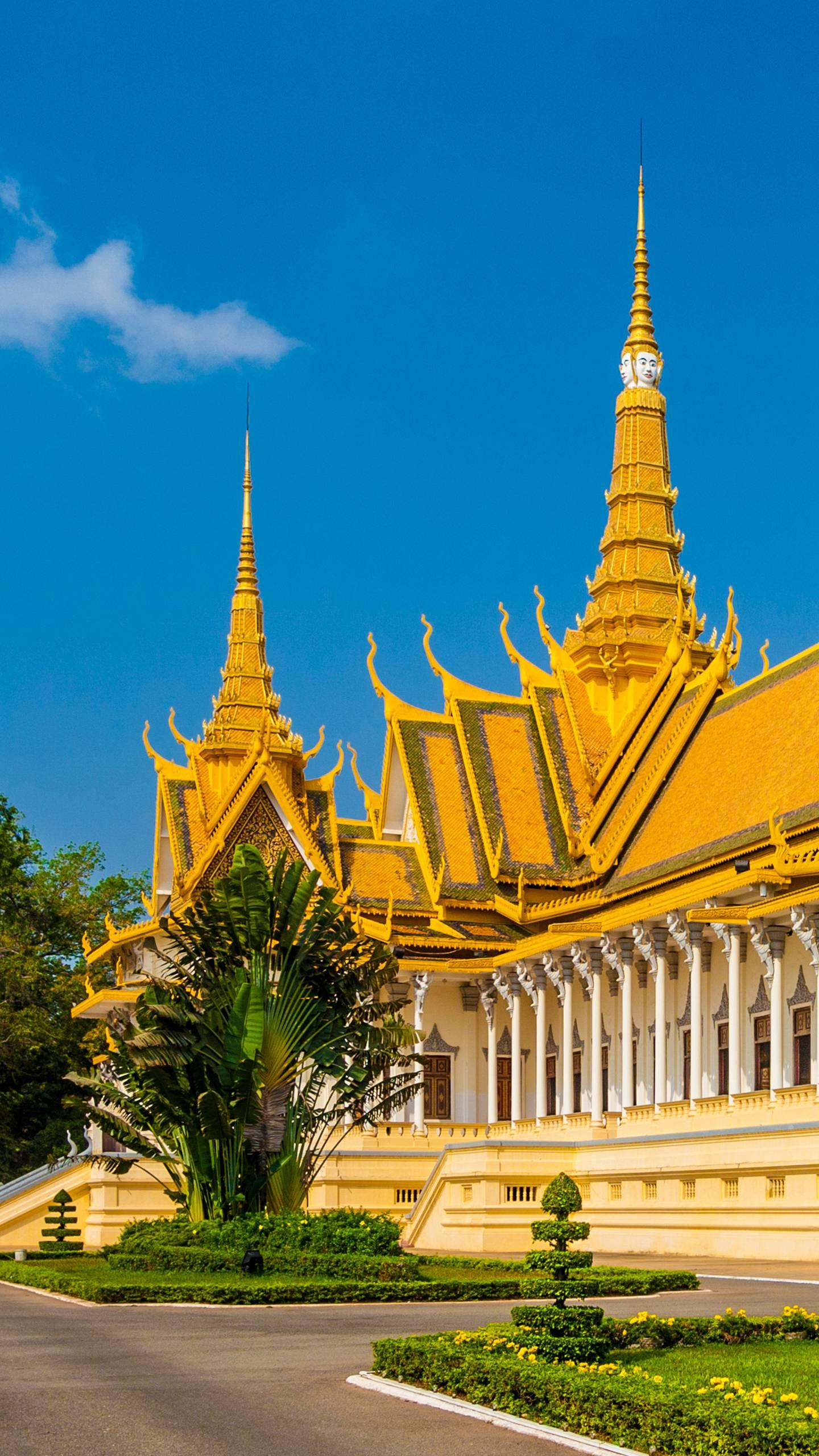 Cambodia - Royal Palace of Phnom Penh. It is the palace of the King of Cambodia. It consists of a group of golden roofs and yellow walls. It is beautifully shaped and magnificent.