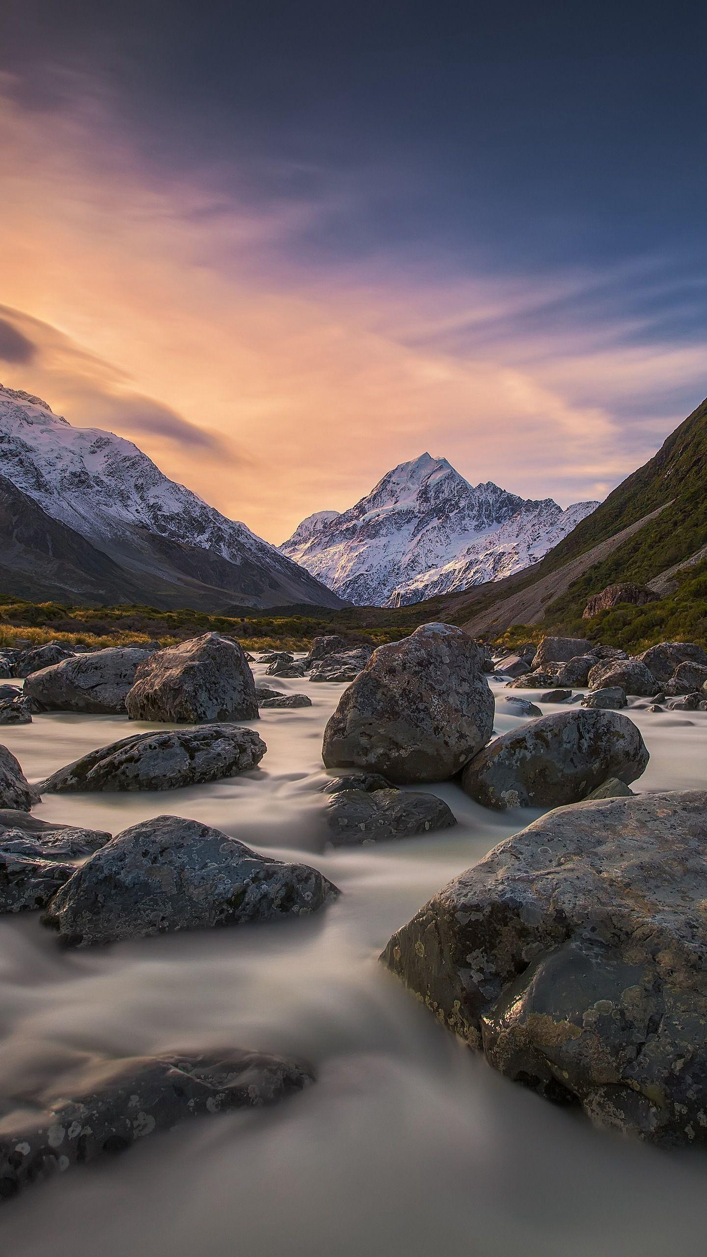 New Zealand Ridge: Mount Cook. As one of the locations for the film Lord of the Rings, Mount Cook is stationed in the middle of the South Island and attracts countless visitors.