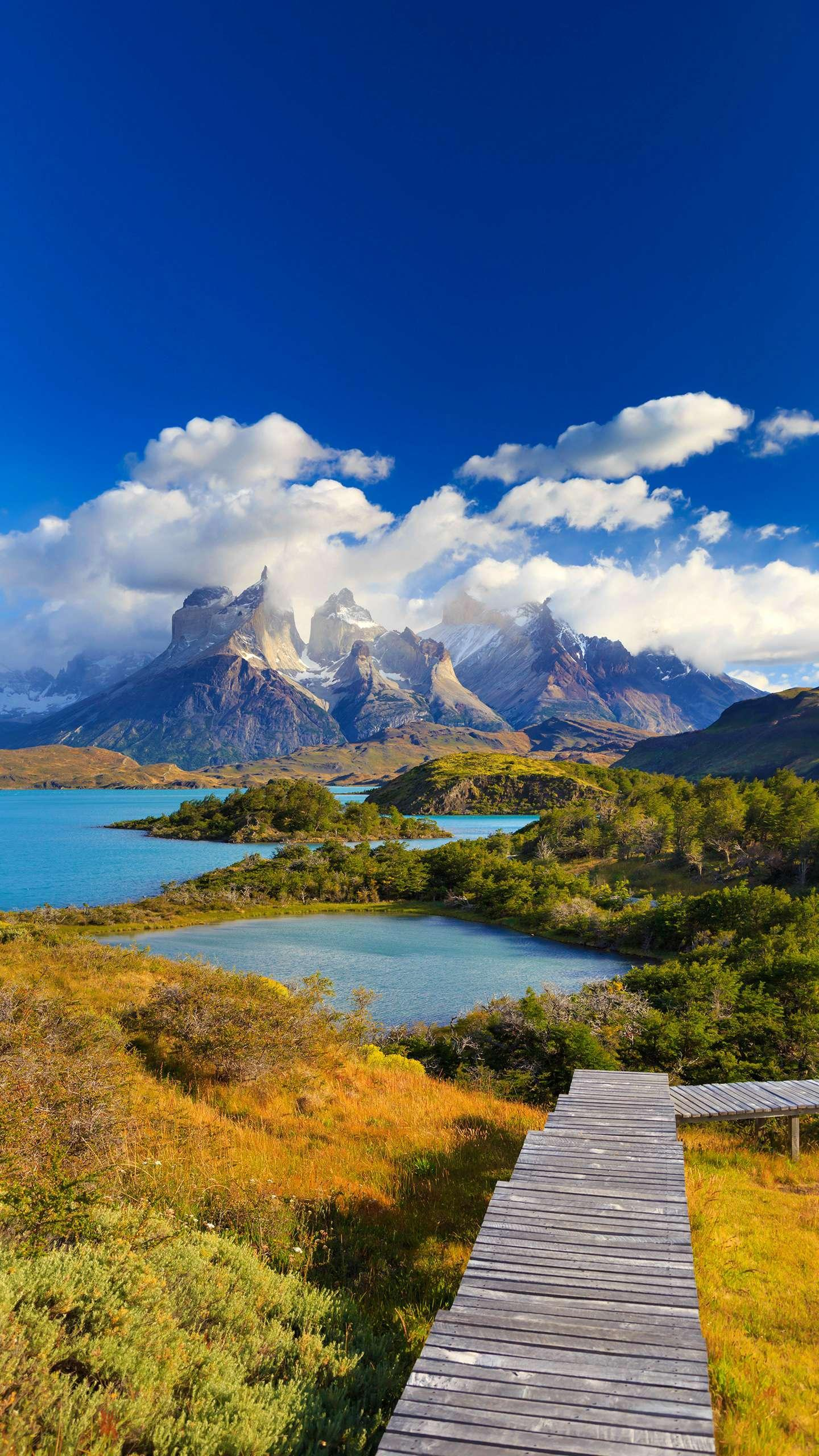 Chile - Torres del Paine National Park. Its beautiful lakes, numerous glaciers and towering granite peaks are world famous.