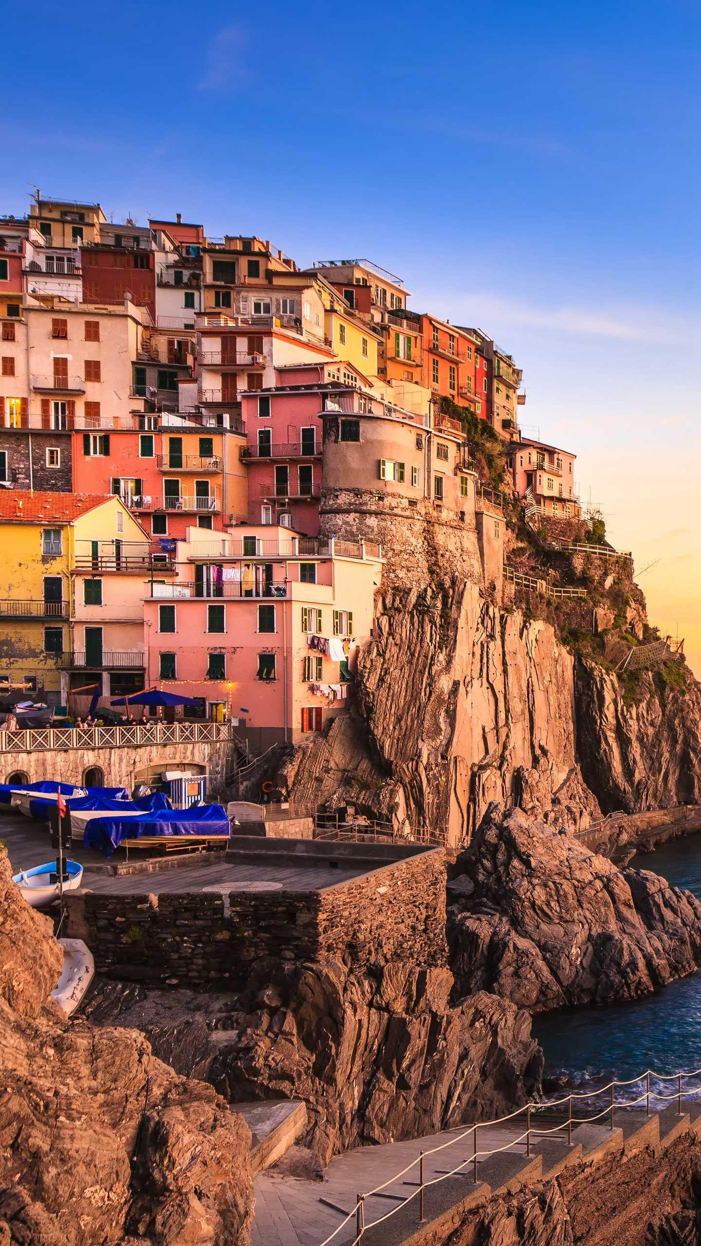 Manarola Village. Manarola is the smallest of the five largest fishing villages in the northern Italian seaside town and is known for its colourful architecture.