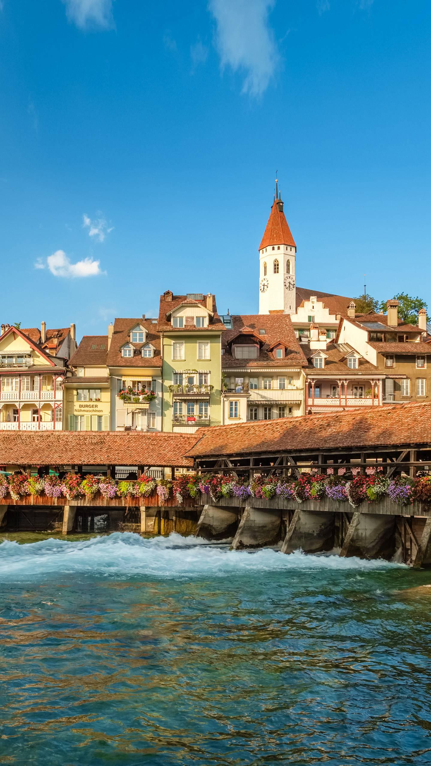 Switzerland - Thun. Located on the shores of Lake Thun in Switzerland, it is a small town with a castle, an old town and a lake and mountains.