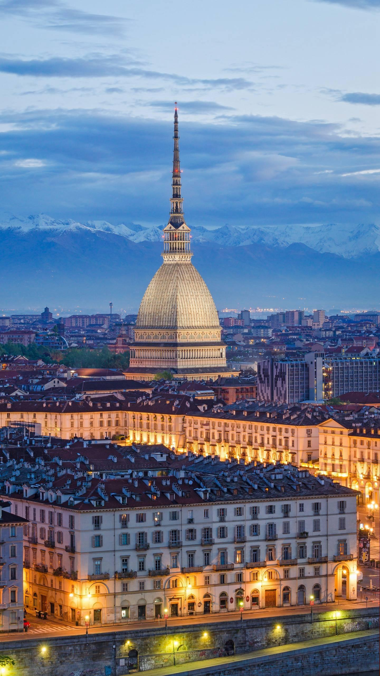 Turin, Italy. The Mole Antonelliana is the most important artistic and cultural center of Turin, and the top of the tower is a great place to admire the Alps.