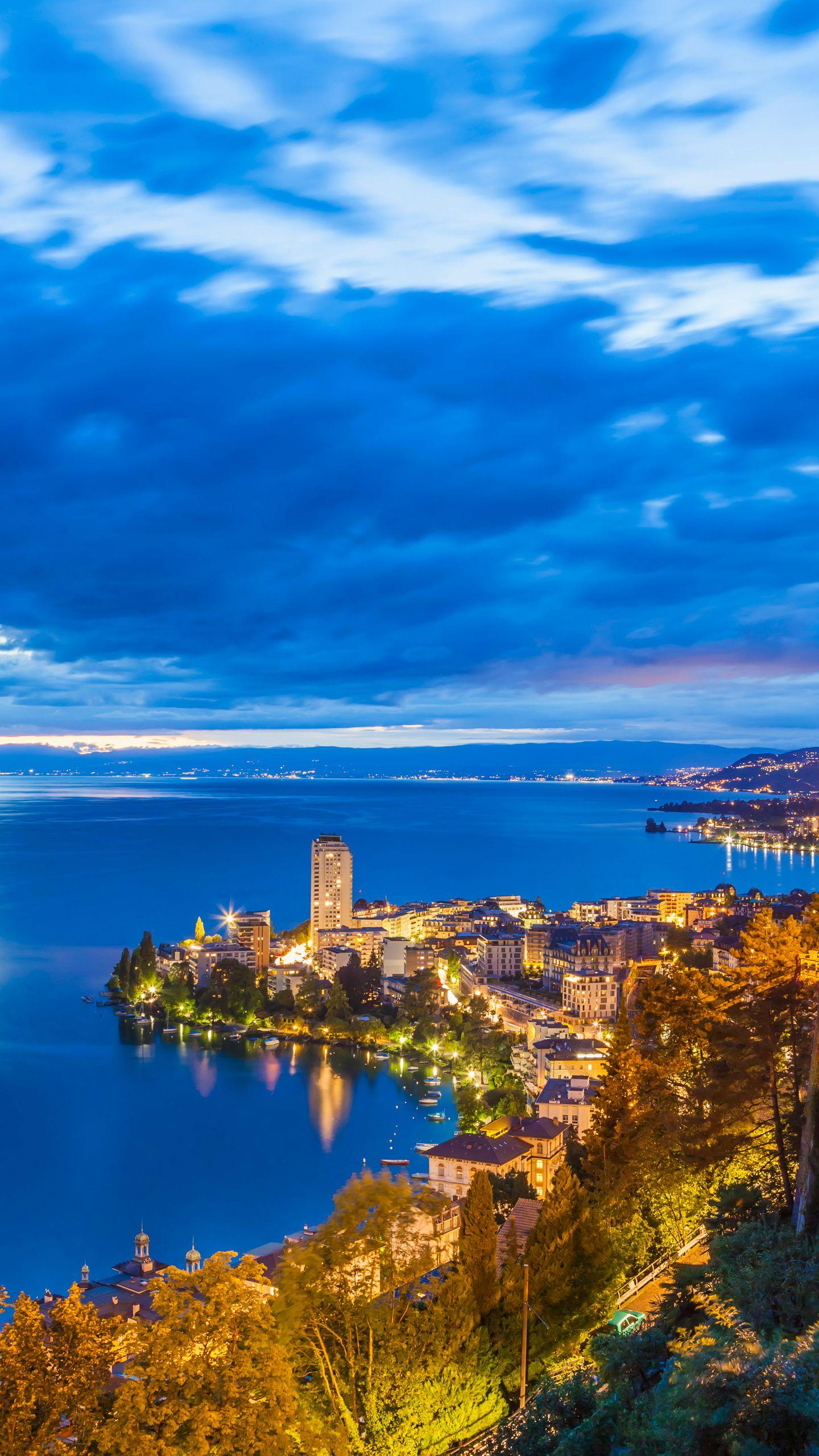 Switzerland - Montreux. With a natural romance, it is an idyllic small town situated on the shores of the vast Lake Geneva.