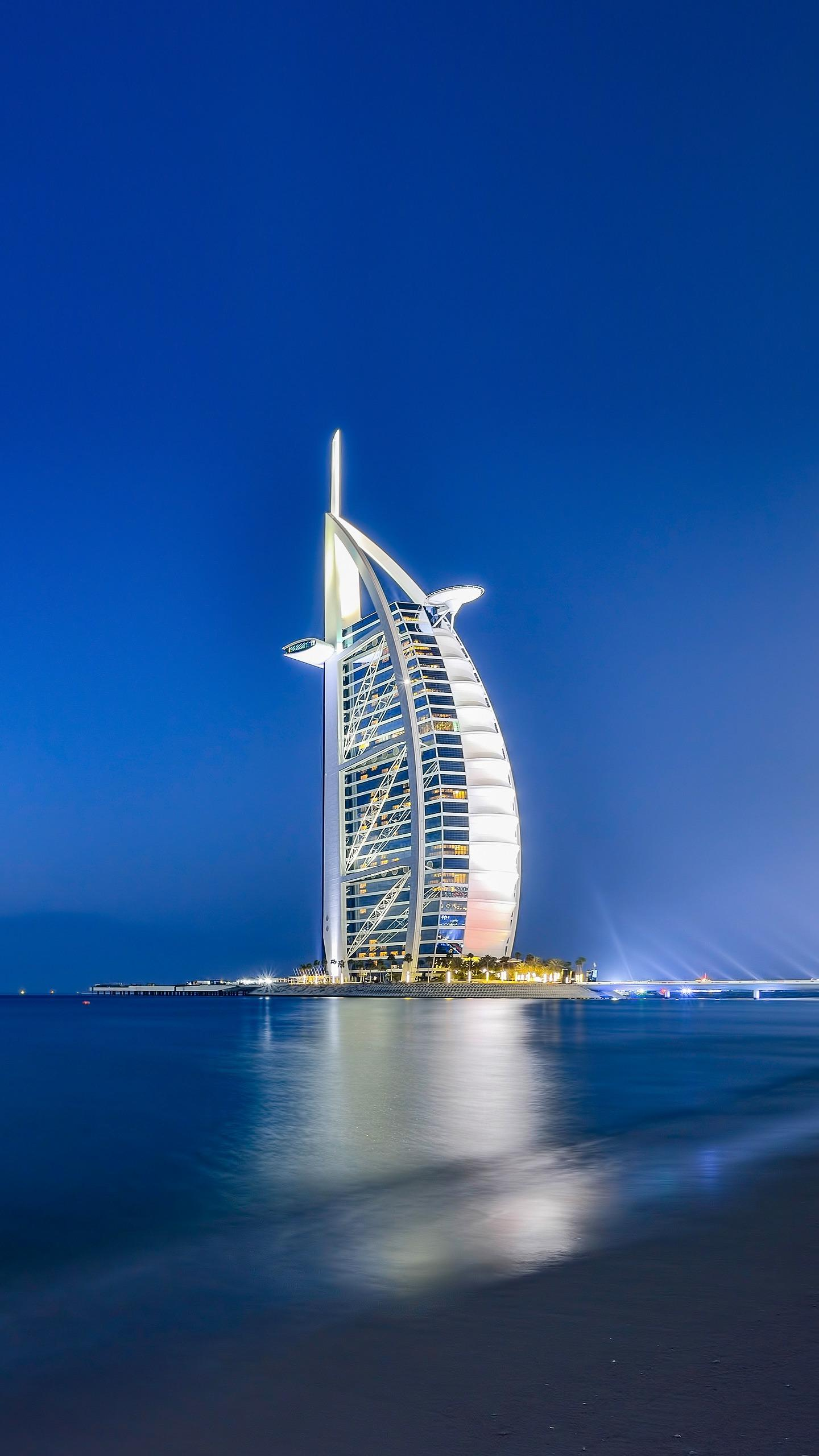 Burj Al Arab. The Arabian Tower Hotel is also known as the Dubai Sailing Hotel because of its shape resembling a sail. It is known for its splendid and luxurious style.