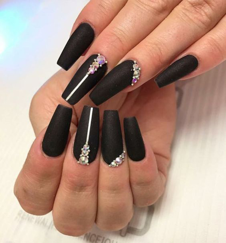 Coffin Matte Black Nails With Design Nail And Manicure Trends