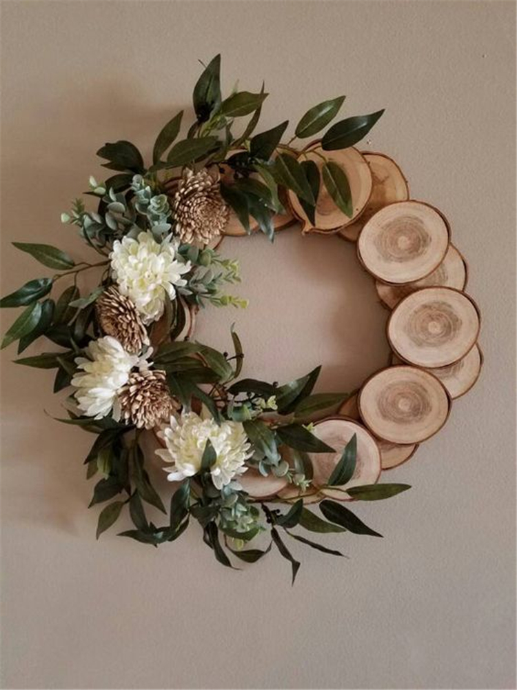 How To Make A Rustic Wood Slice Wreath Sumcoco Blog