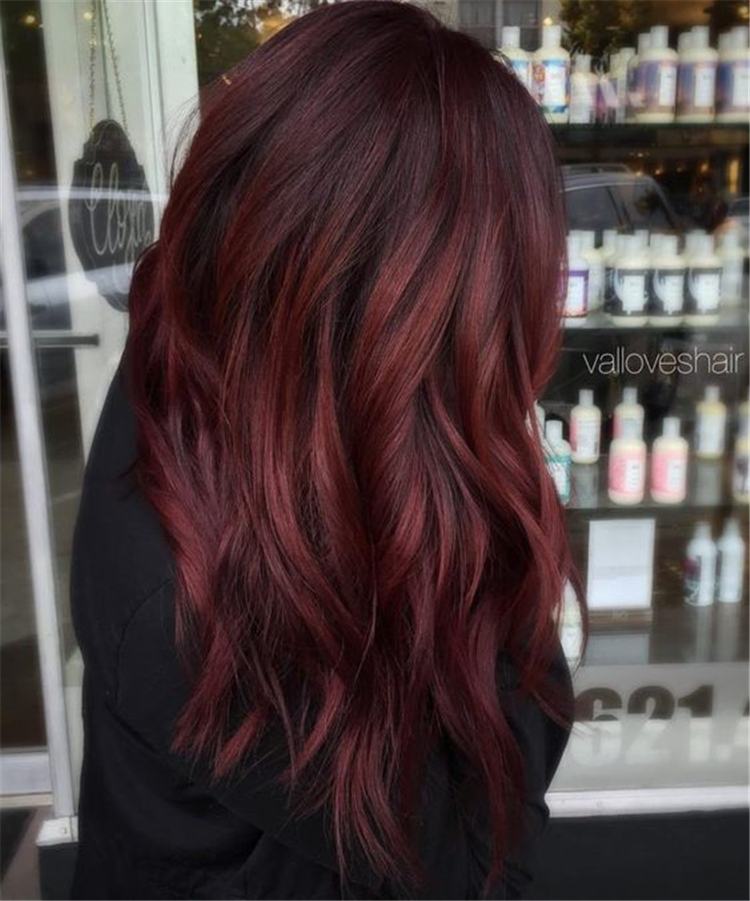 burgundy hair ideas in spring and summer of 2019; trendy hairstyles and colors 2019; women hair colors; #hairscolor