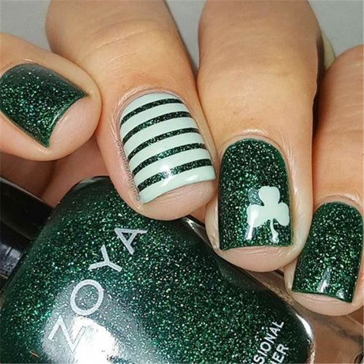 Spring 2019 Nails Design Fashion Trends; Lucky Green Plaid Nails; Nail designs; Spring Nails; glitter nails; Nail art; Nails acrylic nail;