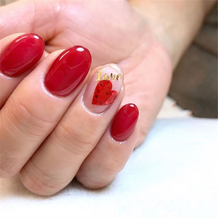beautiful Valentine's Day nails; red nail art designs; pink nails; heart nails; Valentine's day coffin nail; acrylic nails.
