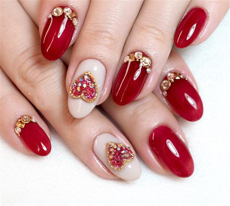 beautiful Valentine's Day nails; red nail art designs; pink nails; heart nails; Valentine's day coffin nail; acrylic nails.