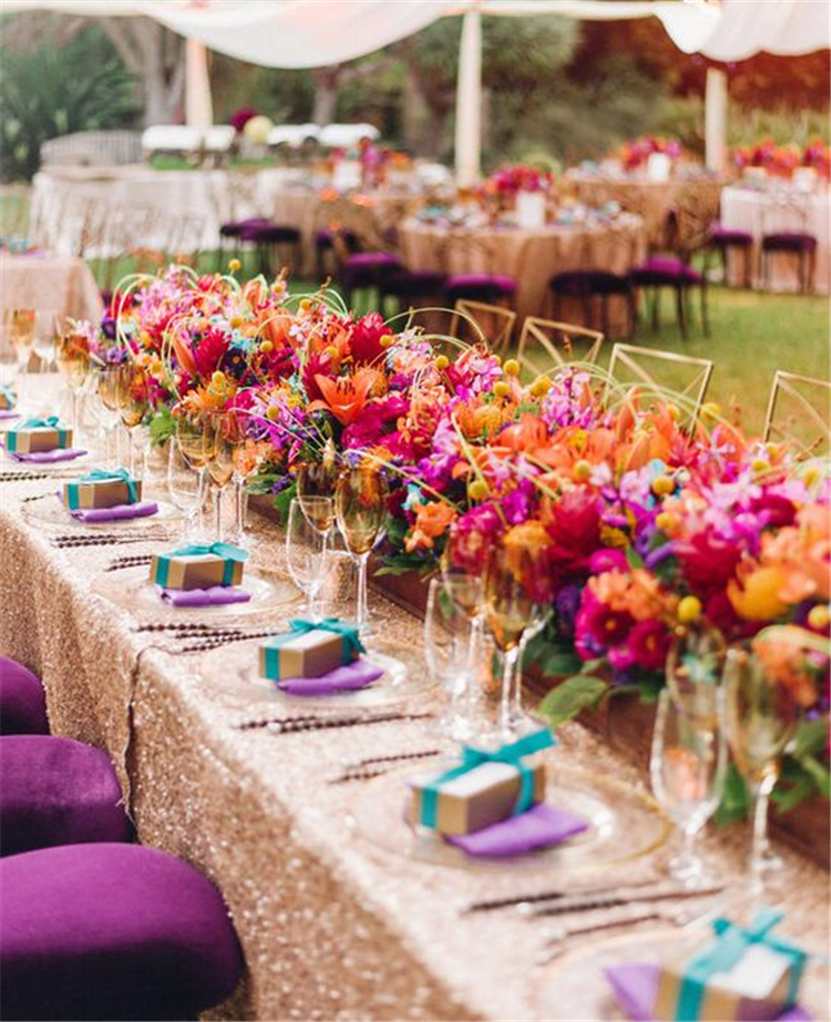 colorful table decorations centerpiece; wedding table settings ideas; outdoor wedding decorations ideas; #tabledecor #weddingdecor
