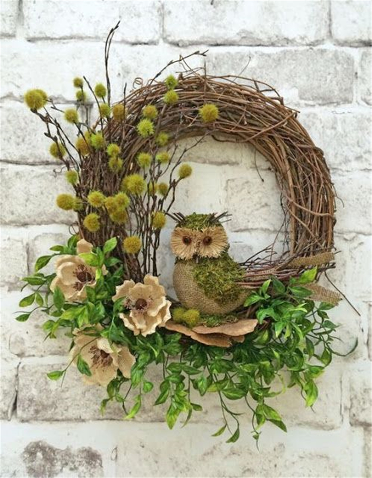 Classic Christmas Owl Wreath Decorations; Christmas Crafts; Christmas Decor DIY; Rustic Natural Decoration; Home Decor; #Christmasdecor