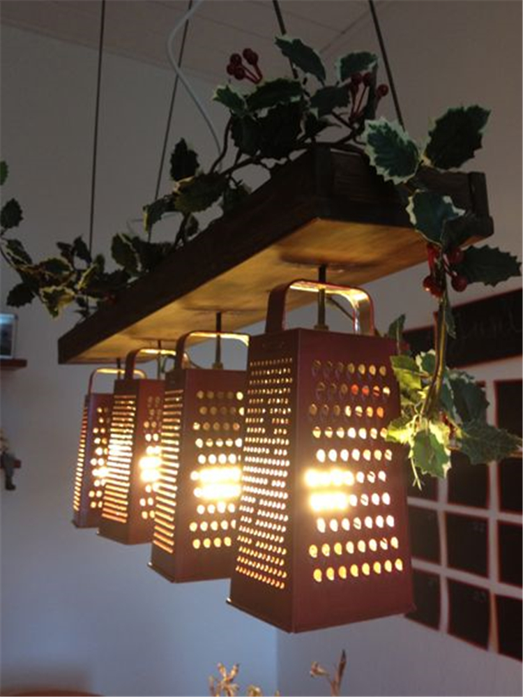 creative ways to diy old kitchen stuff; diy light candle holder via kitchen stuff; creative rustic lighting ideas; #homedecor #homedecordiy