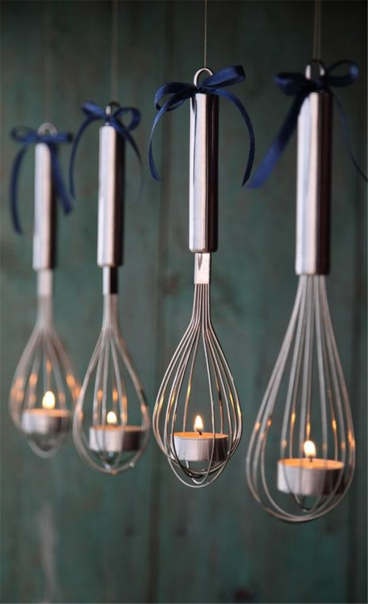 creative ways to diy old kitchen stuff; diy light candle holder via kitchen stuff; creative rustic lighting ideas; #homedecor #homedecordiy
