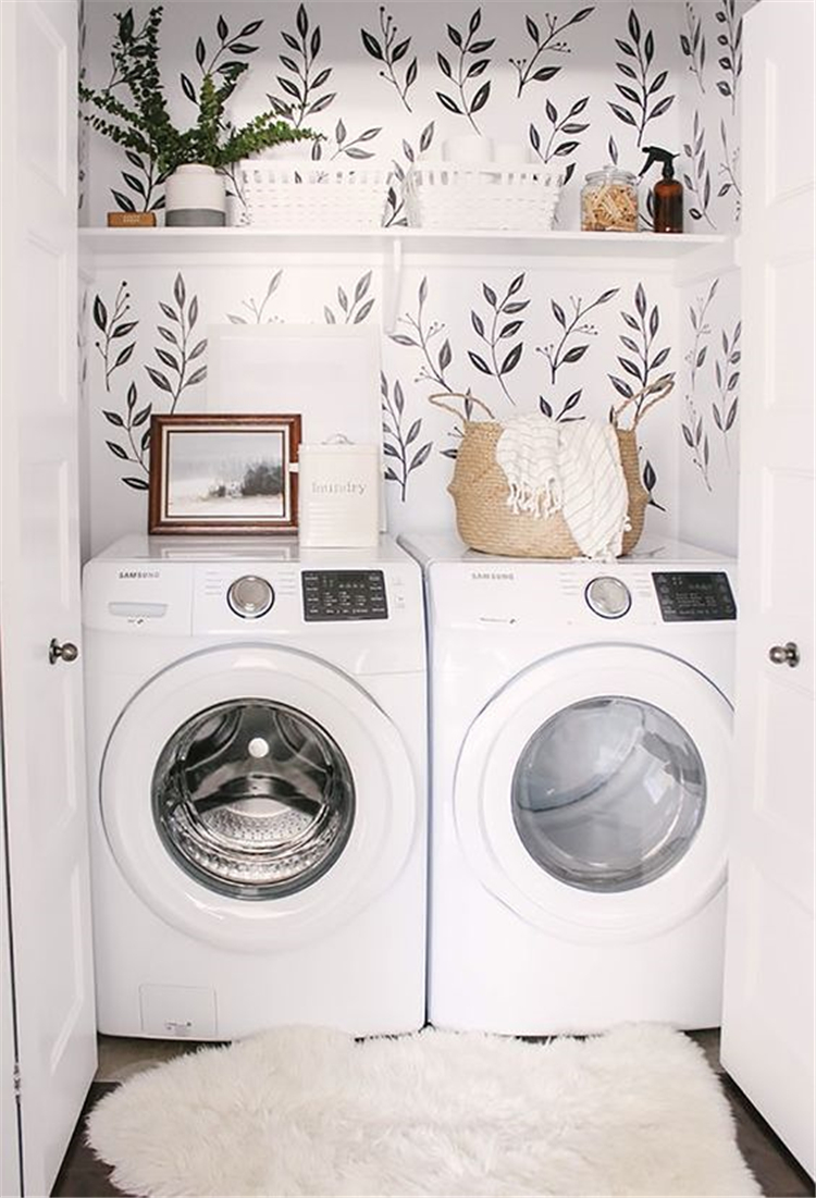 laundry room decor ideas; small laundry room organization ideas; laundry room organization storage; #laundryroomdecor