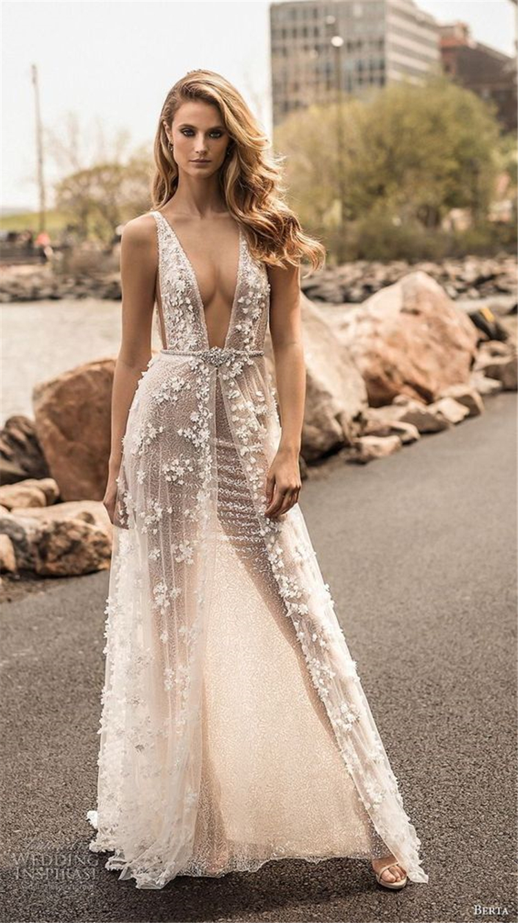 Glamorous Deep V Neckline Floral Wedding Dress; 2019 Wedding Dress Trend; Bold Wedding Dress; V Neck Wedding Dress