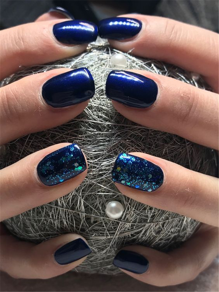 deep blue square acrylic nails designs; square acrylic nails; spring nails; acrylic nails; square nails; square acrylic nails designs; short nails; deep blue nails;#nailsart