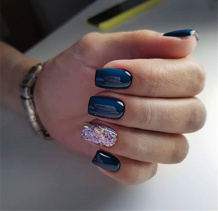 40 Trendy 2019 Dark Blue Nail Art Designs
