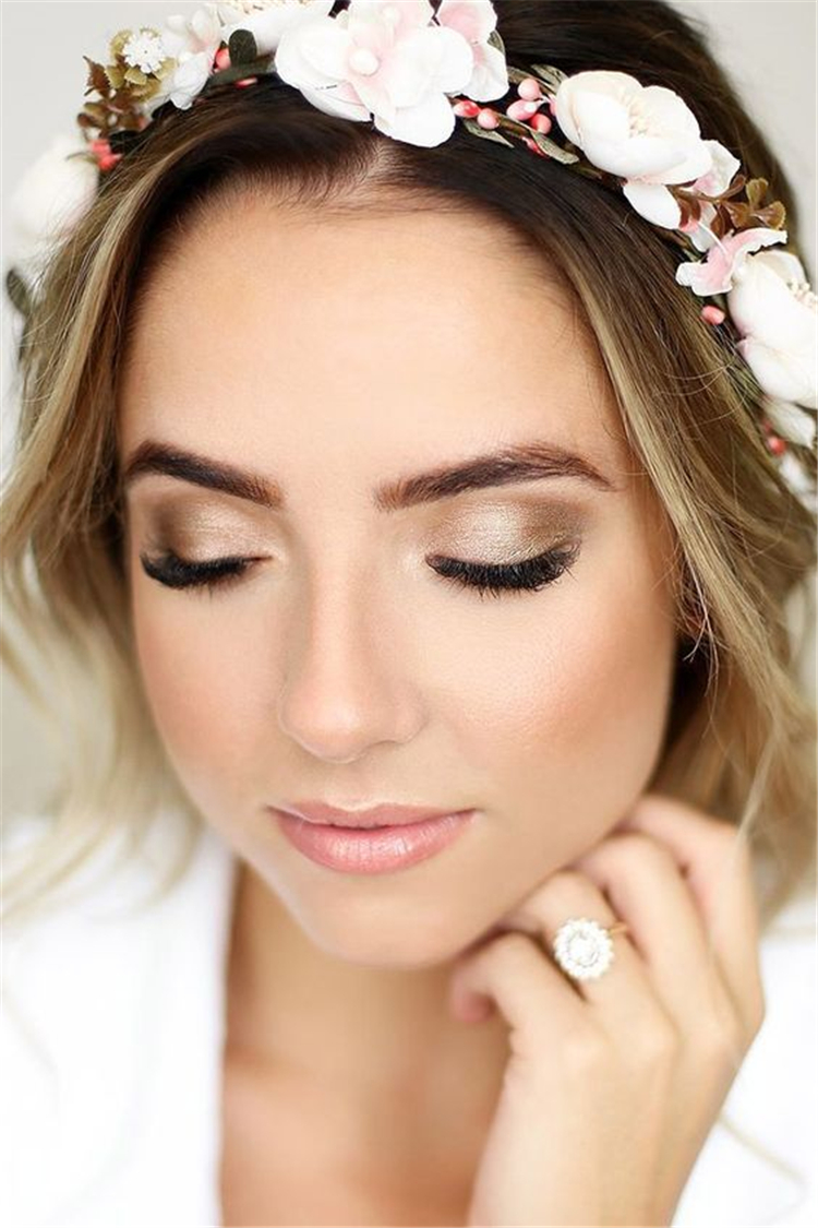 bride makeup ideas; wedding makeup for brown eyes; blue eyes; wedding makeup for blonde hair; wedding makeup natural #weddingmakeup