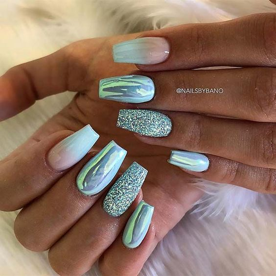 Trendy Summer long ombre coffin nails; coffin nails; ombre nails; trend coffin nails in 2019; nails acrylic;#ombrecoffinnails