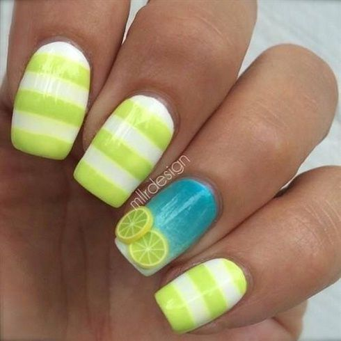 summer fruit nails designs; summer nails; white nails; pink nails; acrylic nails; square nails; square acrylic nails designs; short nails; summer nails designs #Summernails