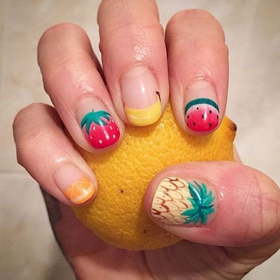 summer fruit nails designs; summer nails; white nails; pink nails; acrylic nails; square nails; square acrylic nails designs; short nails; summer nails designs #Summernails