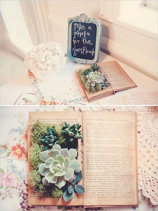 Ultimate Inspiration Guide for Succulents at your Wedding; book centerpiece; Succulents in a book;