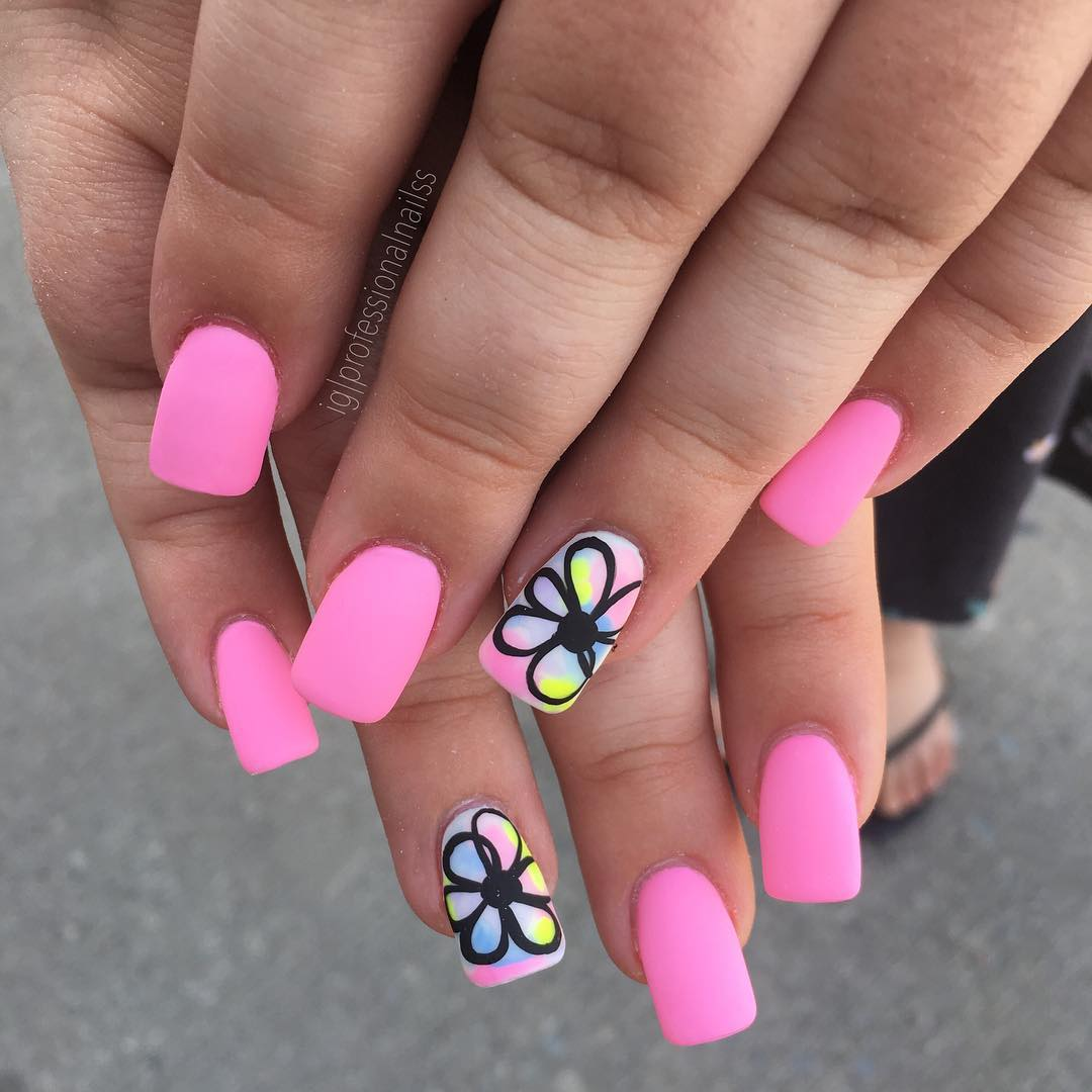 flower coffin nails art designs; nails art designs summer; nails art summer #coffinnails
