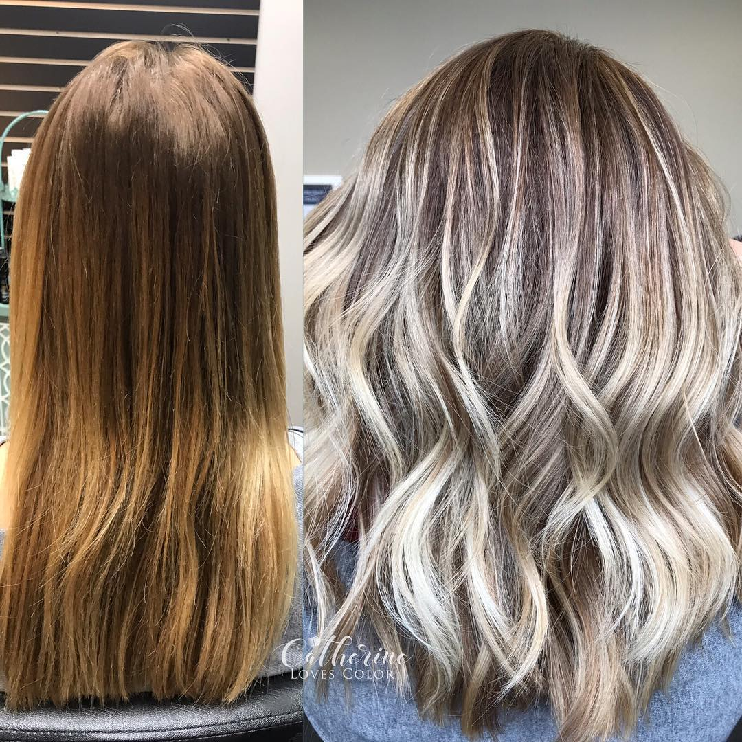 before and after haircolors: highlights on hair + tips; curl hair; trendy hairstyles and colors 2019; women hair colors; hair color ideas; #haircolors