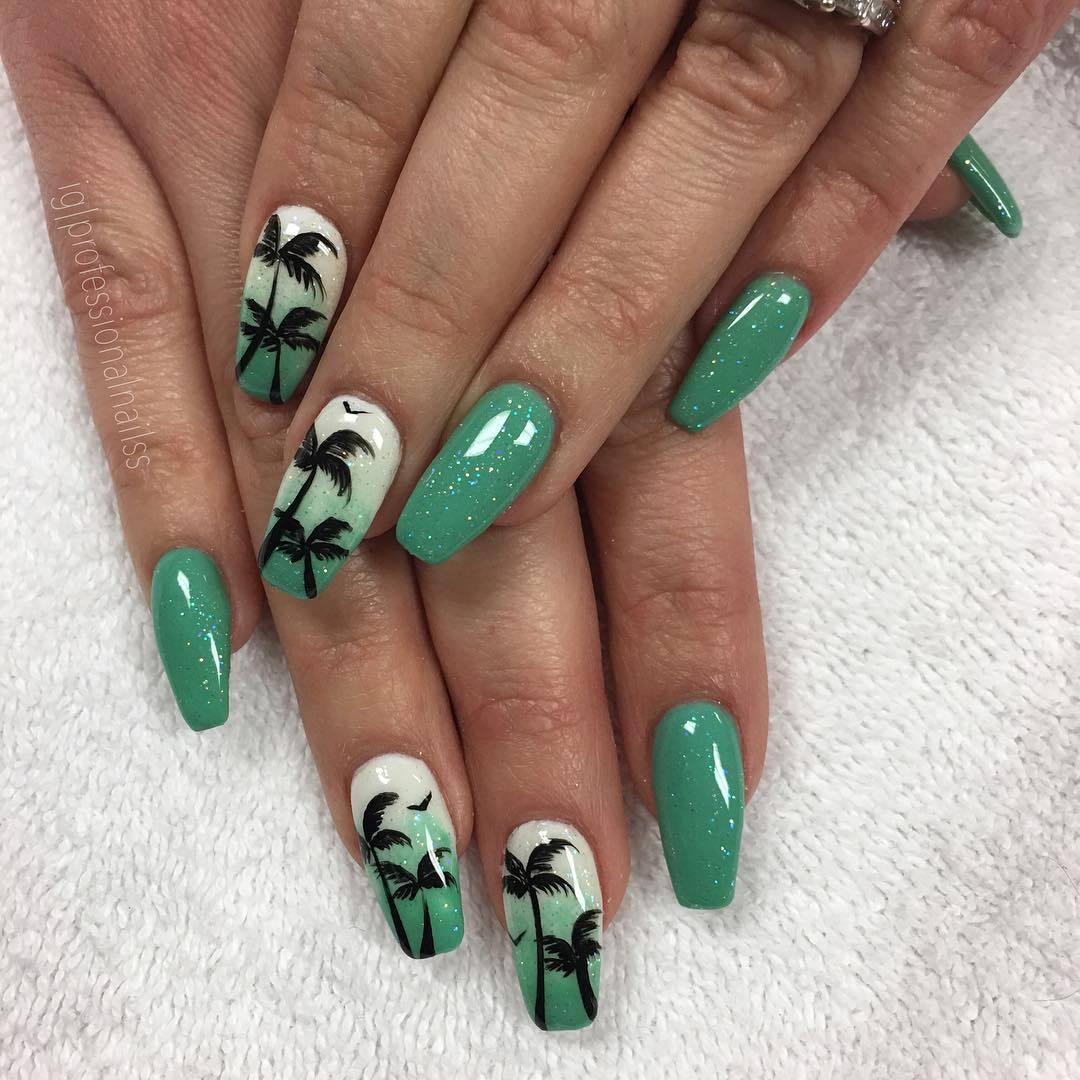 summer coffin nails designs beautiful; coffin nails design; acrylic nails; summer nails design; long coffin nails; coffin acrylic nails