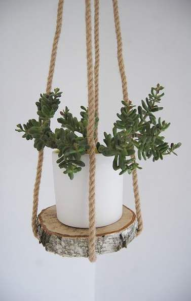 DIY Wood Shelf Plant Hanger; Yarn Macrame Plant Hanger; Plant Hanger; Indoor Macrame Plant Hanger DIY Idea Collections