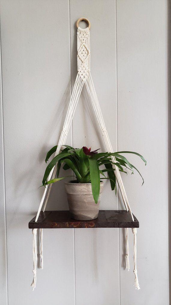 DIY Wood Shelf Plant Hanger; Yarn Macrame Plant Hanger; Plant Hanger; Indoor Macrame Plant Hanger DIY Idea Collections