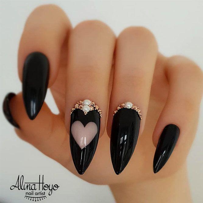 Cool stiletto nails; black stiletto nails; acrylic nails, Bold stiletto nails;