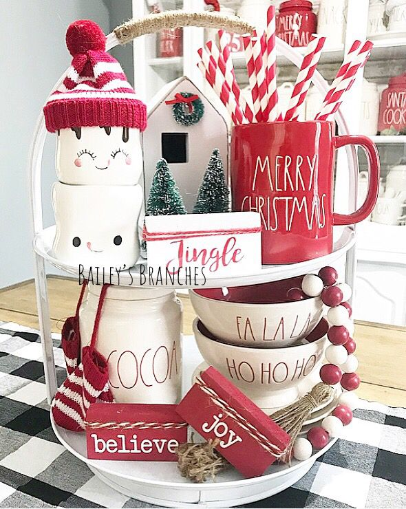 Easy DIY Indoor Christmas Decor and Display Ideas, Ways To Decorate Your Tiered Tray For Christmas, Kitchen Counters, or Fireplace Mantle Decorating, Christmas Decor