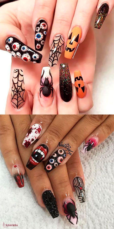 Best Halloween Nails Art Design You Should See Before Halloween, Halloween Nail, Scary Halloween Nail, Scary Halloween Nail Art Design, Nail Art Design, Halloween, Halloween Nail Art Design Ideas, Pumpkin Nail Design, Skull Nail Design, Spooky Nail Art,