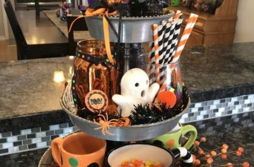 Easy DIY Indoor Halloween Decor and Display Ideas, Ways To Decorate Your Tiered Tray For Halloween, Kitchen Counters, or Fireplace Mantle Decorating, Halloween Decor