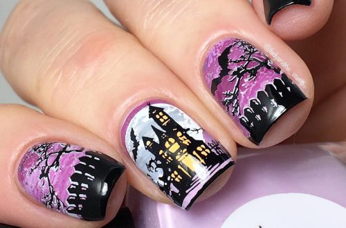 Square Matte Halloween Nails Art Design, Matte Nails, Square Nails, Winter Nails Design, Creepy Nails, Witch Nails, #halloween