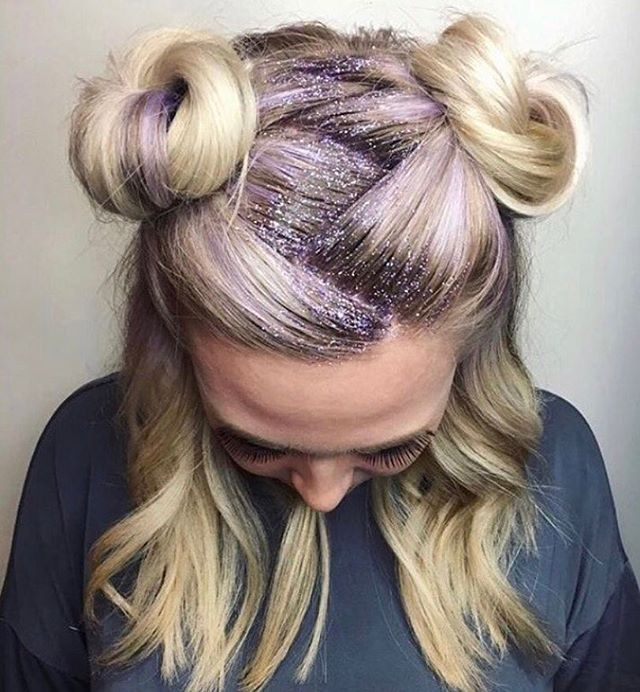 Glitter Roots Hair Trend - Music Festival Hairstyles, Glitter Roots Tutorial, Hair Sparkles Ways,Unique Festival Makeup & Hairstyles